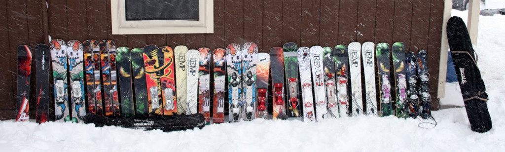 Skiboards lined up at Midwest Meet, Mount Bohemia, MI