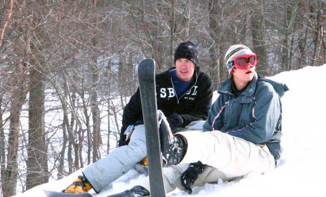 Kirk and Adam at the Skiboard Triple Challenge
